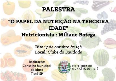 Conselho do Idoso promove palestra sobre Nutrição