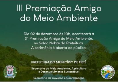 """3ª Premiação """"Amigo do Meio Ambiente"""""""