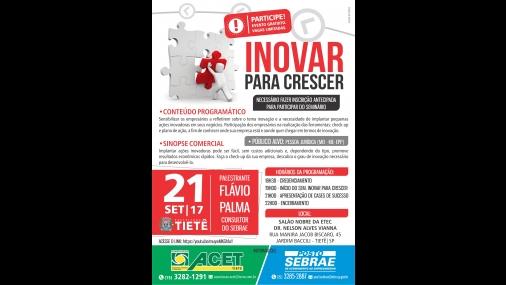 """Sebrae de Tietê realiza a palestra """"Inovar para Crescer"""""""