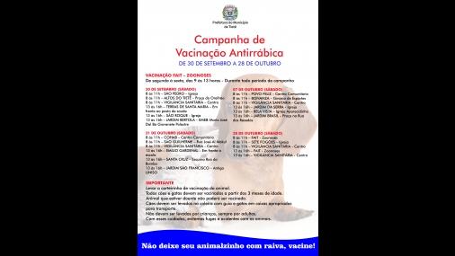 Campanha de Vacinação contra a raiva em Tietê
