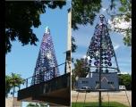 A Secretaria de Educação produz árvores sustentáveis para o Natal