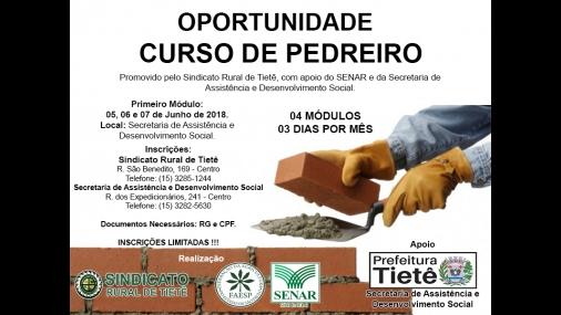 Sindicato Rural de Tietê promove curso de Pedreiro