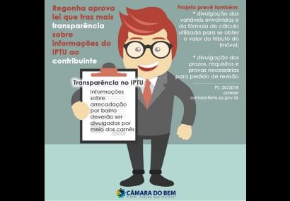 Junior Regonha aprova Lei de transparência na cobrança no IPTU