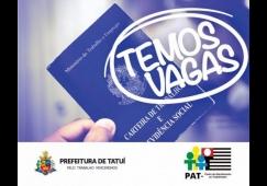 Pat de Tatuí está com vagas de emprego disponíveis