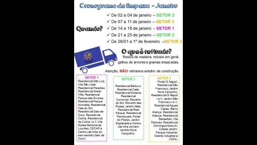 Cronograma de Limpeza Garagem Municipal Janeiro de 2019