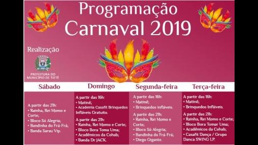 Prefeitura de Tietê divulga programação de Carnaval