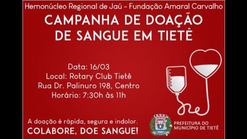 Rotary Club promove campanha de Doação de Sangue